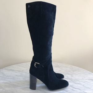 Sam Edelman Lucy Suede Buckle Black Heeled Boots